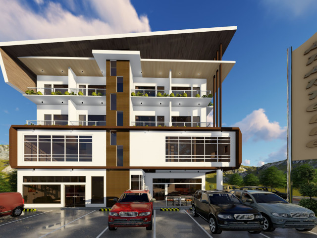 2 storey modern commercial building design