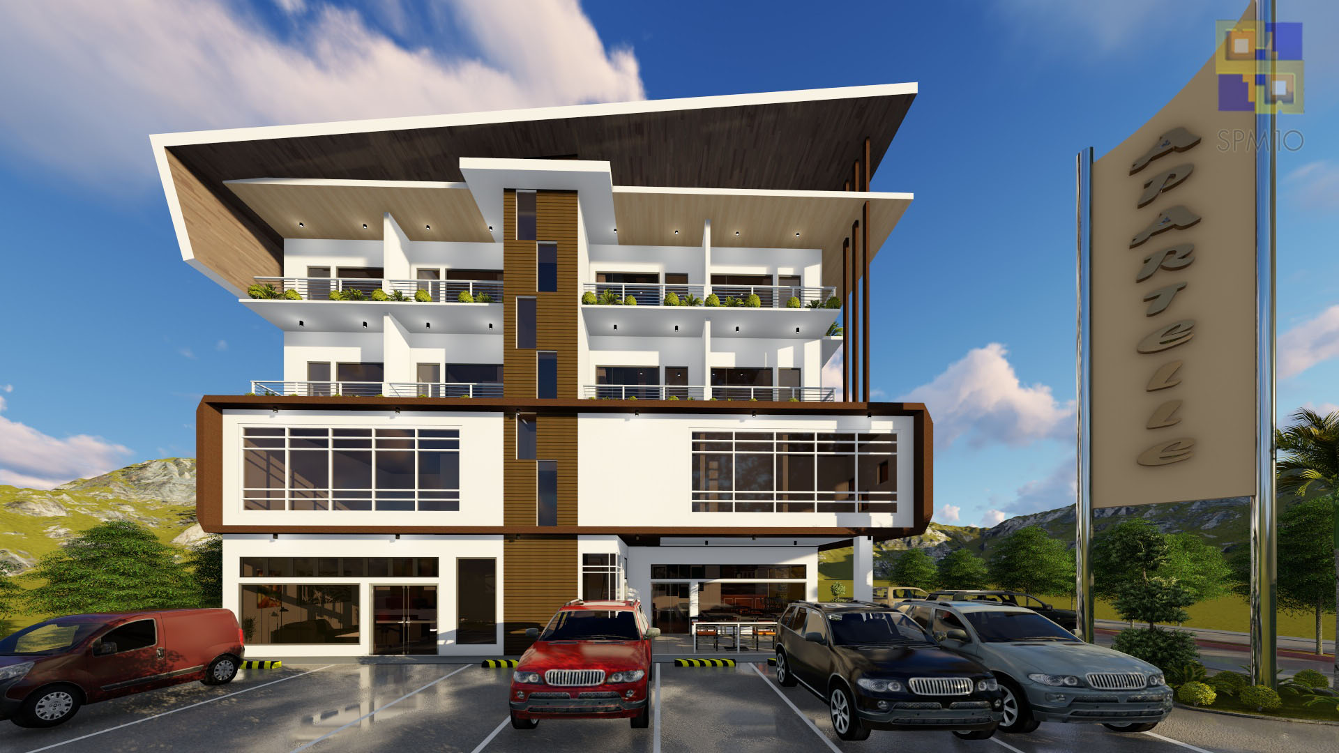 4 storey apartment with commercial units building concept for 4 story building design